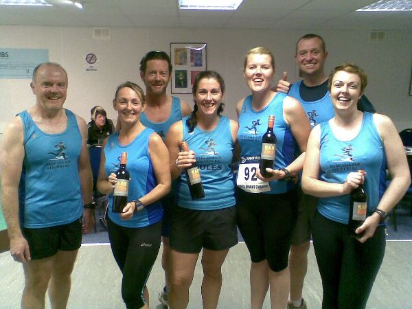 The Striders team after the ladies scoped their prize