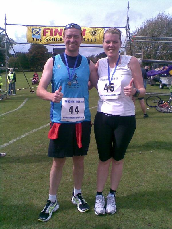 Stacey and Danny after the Ashbourne half